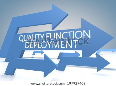 Quality Function Deployment 3d render concept with blue arrows on a bluegrey background. - stock photo