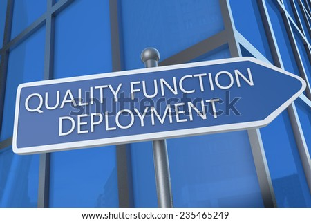 Quality Function Deployment - illustration with street sign in front of office building. - stock photo