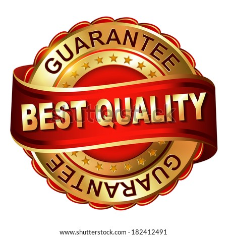Quality guarantee golden label with ribbon. - stock photo