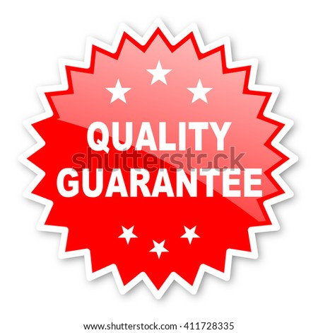 quality guarantee red tag, sticker, label, star, stamp, banner, advertising, badge, emblem, web icon - stock photo