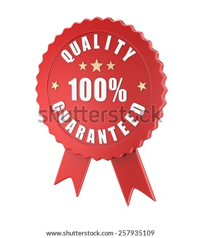 Quality guaranteed , computer generated image. 3d rendered image. - stock photo