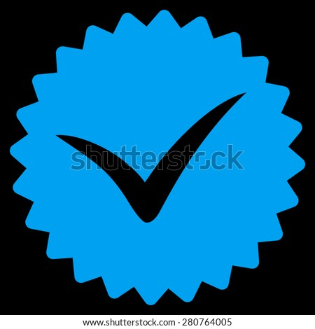 Quality icon from Competition & Success Bicolor Icon Set on a black background. This isolated flat symbol uses light blue color. - stock photo
