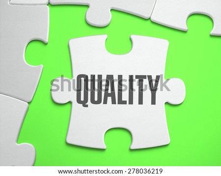 Quality - Jigsaw Puzzle with Missing Pieces. Bright Green Background. Close-up. 3d Illustration. - stock photo
