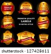 Quality Labels in retro vintage design Raster version - stock photo