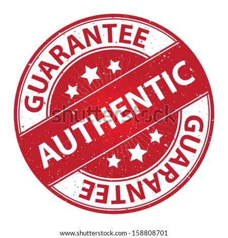 Quality Management Systems, Quality Assurance and Quality Control Concept Present By Authentic Label on Red Grunge Glossy Style Icon With Guarantee Text Around Isolated on White Background - stock photo