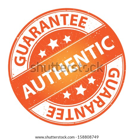 Quality Management Systems, Quality Assurance and Quality Control Concept Present By Authentic Label on Orange Grunge Glossy Style Icon With Guarantee Text Around Isolated on White Background
