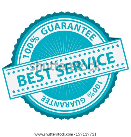 Quality Management Systems, Quality Assurance and Quality Control Concept Present By Blue Best Service Label With 100 Percent Guarantee Text Around Isolated on White Background  - stock photo