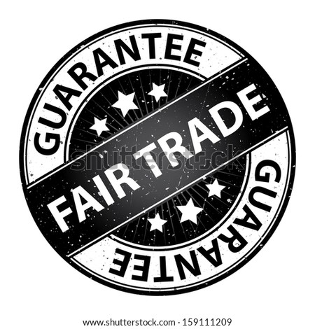 Quality Management Systems, Quality Assurance and Quality Control Concept Present By Fair Trade Label on Black Grunge Glossy Style Icon With Guarantee Text Around Isolated on White Background - stock photo