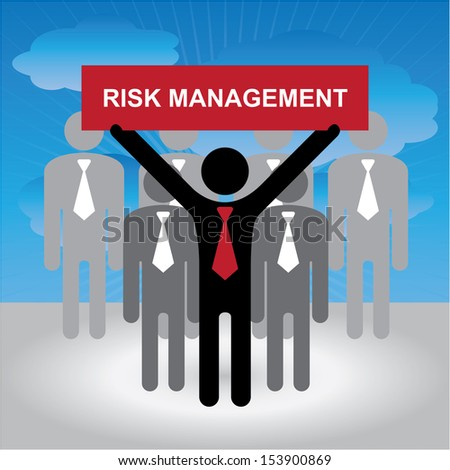Quality Management Systems, Quality Assurance and Quality Control Concept Present By Group of Businessman With Red Risk Management Sign on Hand in Blue Sky Background - stock photo