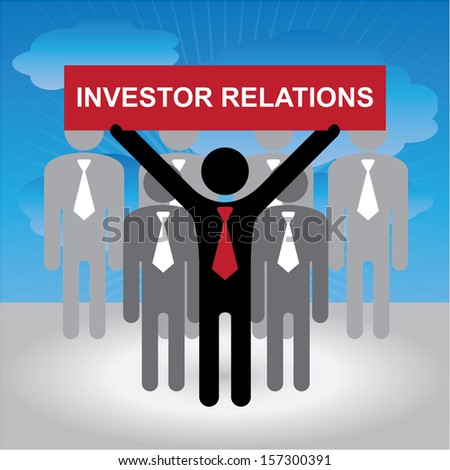 Quality Management Systems, Quality Assurance and Quality Control Concept Present By Group of Businessman With Red Investor Relations Sign on Hand in Blue Sky Background  - stock photo