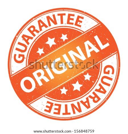 Quality Management Systems, Quality Assurance and Quality Control Concept Present By Original Label on Orange Grunge Glossy Style Icon With Guarantee Text Around Isolated on White Background  - stock photo