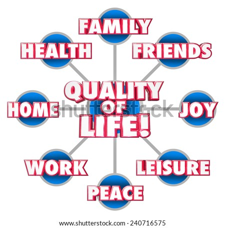 Quality of Life 3d words on a grid or diagram with important factors of your enjoyment including family, friends, home, work, peace, joy, leisure and health - stock photo