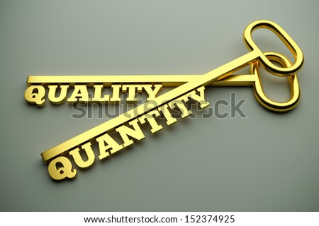 Quality Or Quantity concept with keys - stock photo
