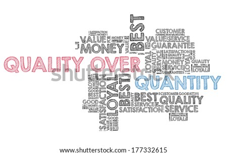 Quality over quantity in word cloud - stock photo