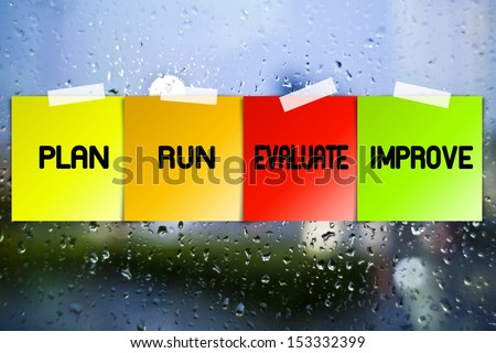 Quality process sticky paper on glass with drops water background - stock photo