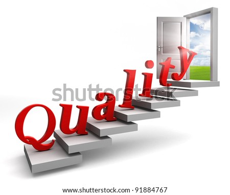 quality red word up stairs to door with view to field and sky on white background - stock photo