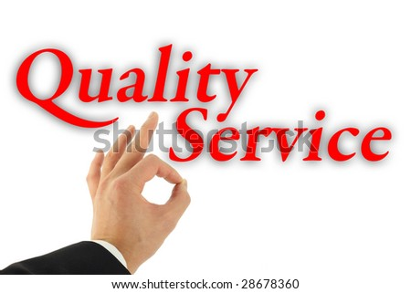 Quality service concept with hand okay sign isolated on white - stock photo