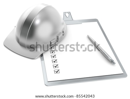 Quality. Steel Hardhat and Clip Board. Retro style. - stock photo