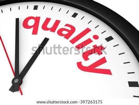 Quality time business and lifestyle concept with a clock and quality word and sign printed in red 3d rendering image. - stock photo