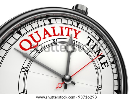 quality time concept clock closeup isolated on white background with red and black words - stock photo