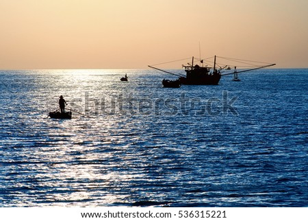 QUANG BINH, Vietnam, July 18, 2016 fishermen fishing in waters Quang Binh, Vietnam, at the dawn