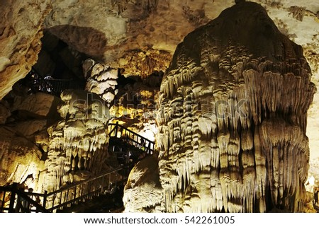 Quang Binh, Vietnam - 12th December 2016 - Paradise cave (or Thien Duong cave) is a cave in Phong Nha Ke Bang National Park, UNESCO's World Heritage Site