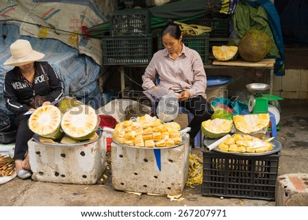 Quang Ninh, Vietnam - Mar 22, 2015: Jackfruit stall at Ha Long market, Ha Long city