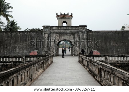 QUANG TRI, VIET NAM- FEB 20, 2016: Quang Tri old citadel, a historic relics of Vietnam war, also national heritage, in dark color and ancient architect