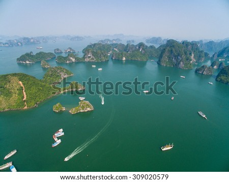 QUANGNINH, VIETNAM, AUGUST 22, 2015. Beautiful seascape Titov island in Halong bay from high view. Halong bay is World Natural Heritage of Quang Ninh Vietnam.