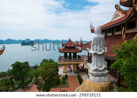 QUANGNINH, VIETNAM, July 12, 2015. Cai Bau pagoda near Halong bay. Halongbay is World Natural Heritage of Quang Ninh Vietnam.