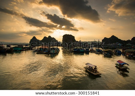 QUANGNINH, VIETNAM, July 12, 2015. Sunset in Halong bay. Halongbay is World Natural Heritage of Quang Ninh, Vietnam.