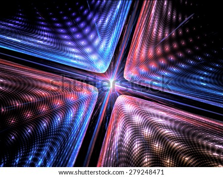Quantum mechanics, particle with wave attribution, computer generated abstract fractal background - stock photo