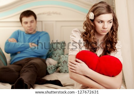 Quarrel and hurt two loving home - stock photo
