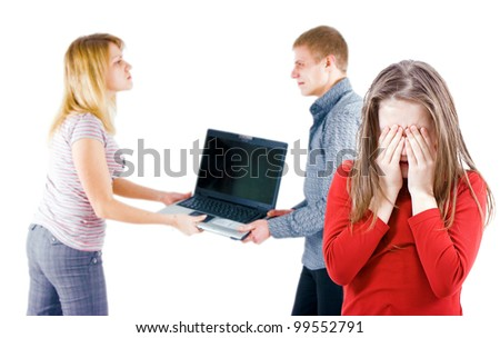 quarrel in the family because of the laptop and hurt a child - stock photo