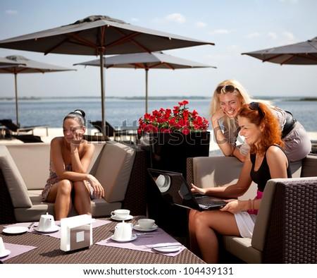 quarrel three friends - stock photo