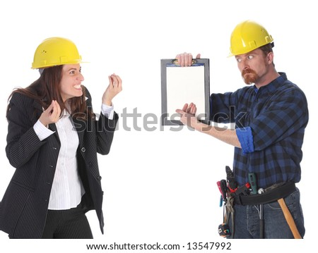 quarreling between angry businesswoman and construction worker wonderfully looking on document