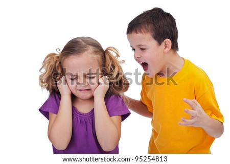 Quarreling kids - boy shouting at little girl, isolated