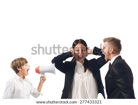 Quarrels and screams at home among family - stock photo