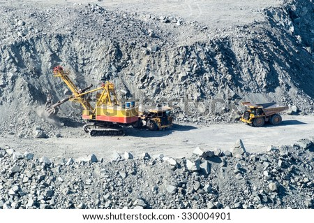 quarry for extraction of minerals, the town of Asbest, Russia, Ural, 31.03.2015 year