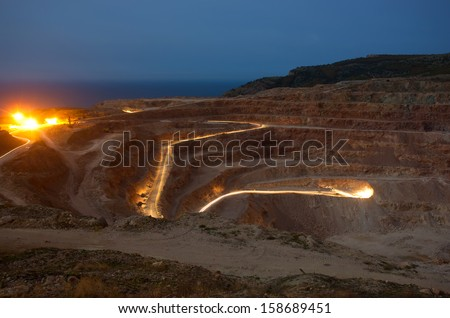Quarry in the night - stock photo