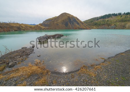 Quarry lake, Sakhalin island, Russia.