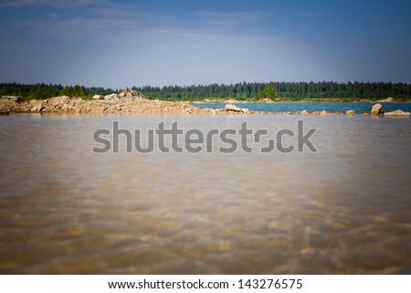 quarry lake water - stock photo