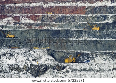 quarry on the booty of iron-stone, technology and equipment, openwork of minerals - stock photo