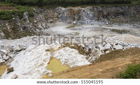 Quarry with white gypsum material