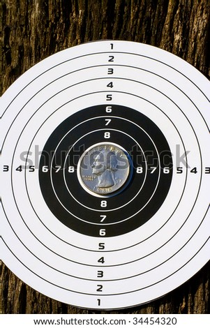 Quarter dollar on a target - stock photo