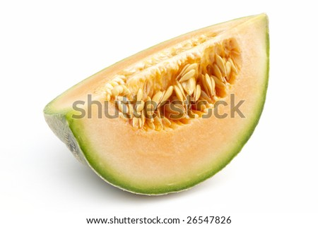 Quarter of a musk melon, isolated - stock photo