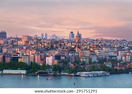 Quarter of Beyoglu and Galata tower at sunrise, Turkey - stock photo