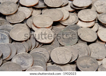 quarters on a white background - stock photo