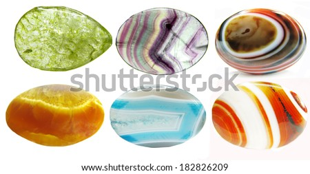 quartz agate semigem geological crystals set isolated - stock photo