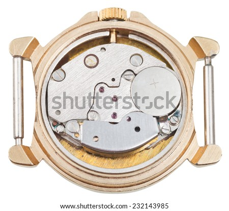 quartz clock mechanism in old golden watch isolated on white background - stock photo